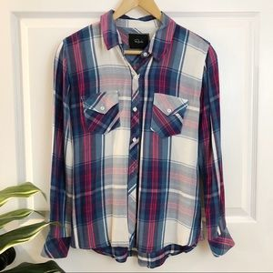 Rails | Rayon Two Pocket Plaid Button Front Shirt